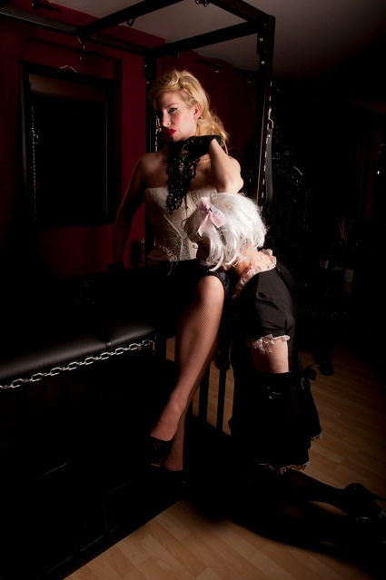 Manchester Mistress Helena and her sissy slut maid at her Elite Manchester Dungeon. A true Dominatrix. One of the best Manchester Mistresses
